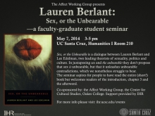 Lauren Berlant: Sex, or the Unbearable — a faculty-graduate student seminar