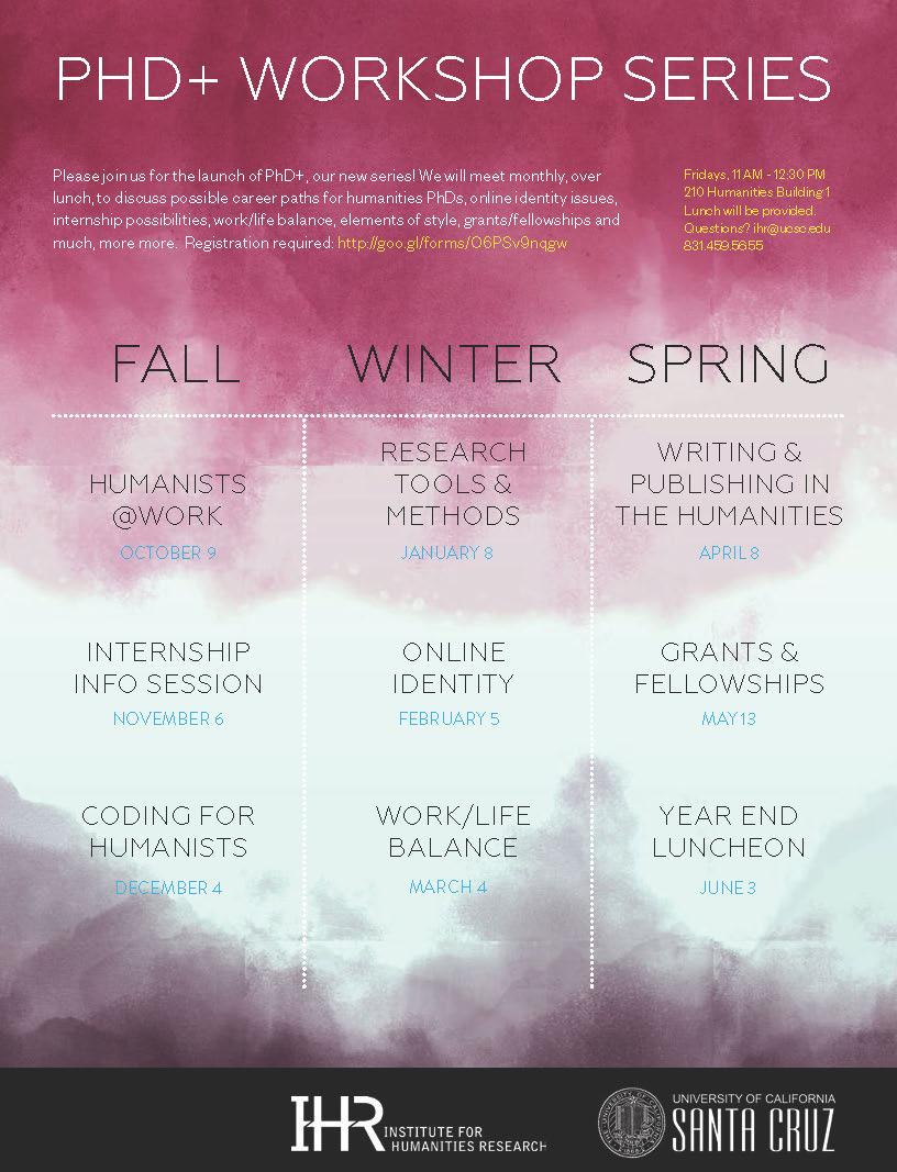 PhD+ Workshop Series Flyer 2015-16