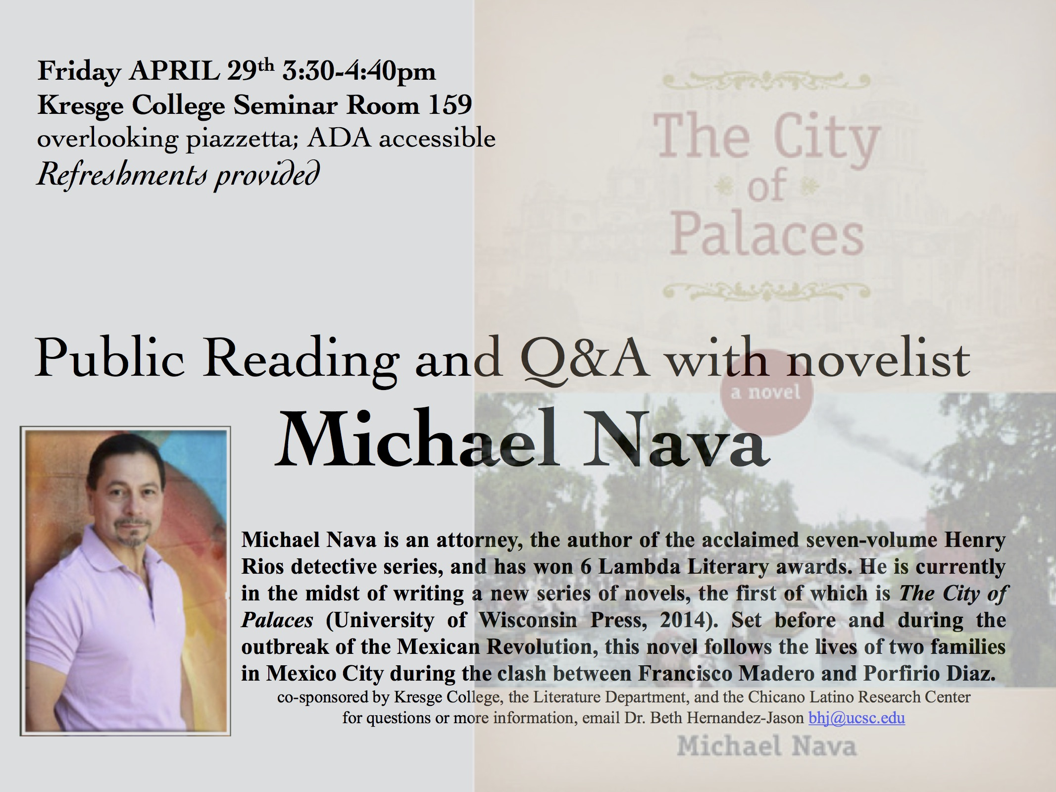 Public Reading and Q&A with novelist michael nava