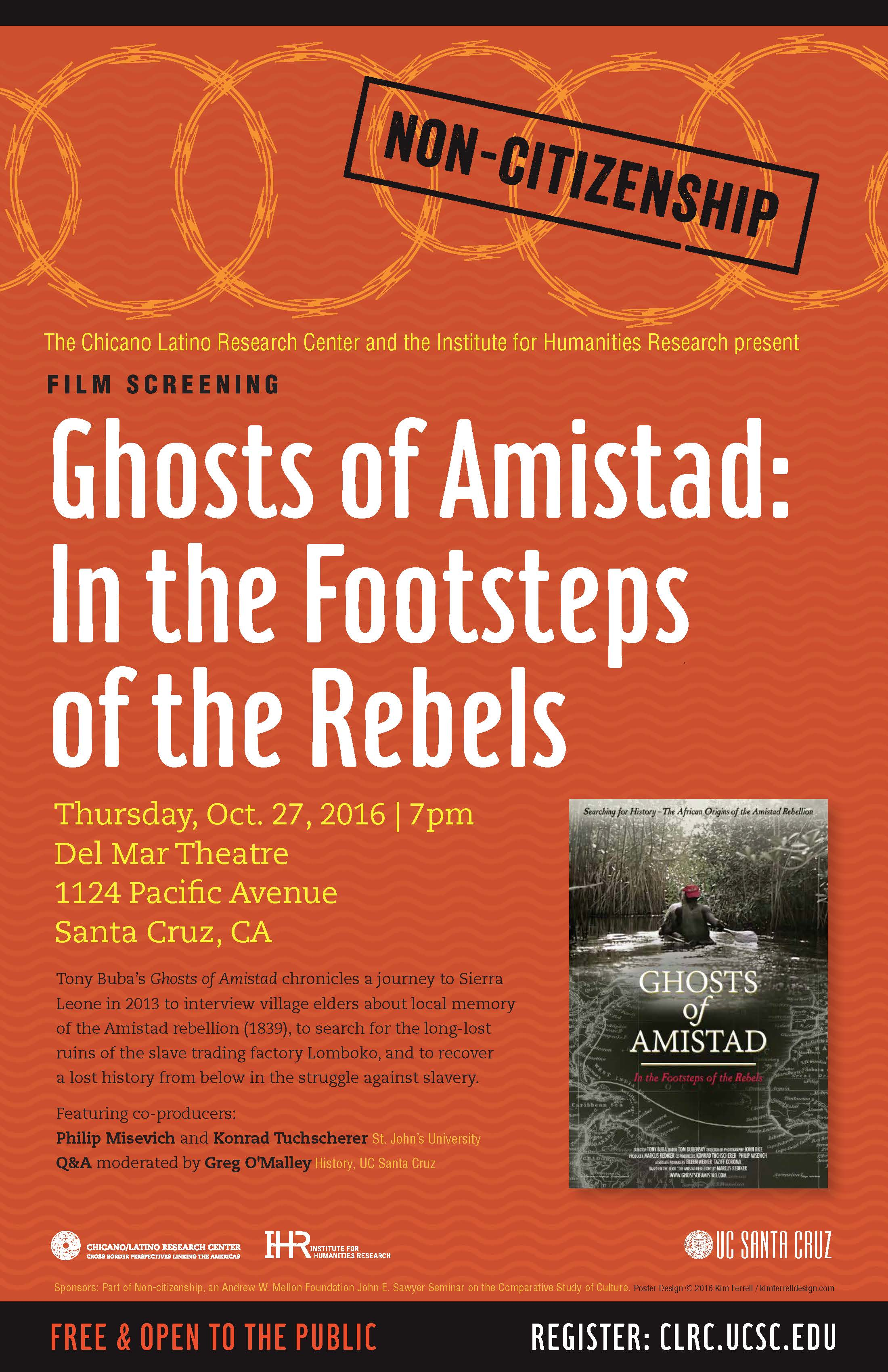 Ghosts of Amistad event poster