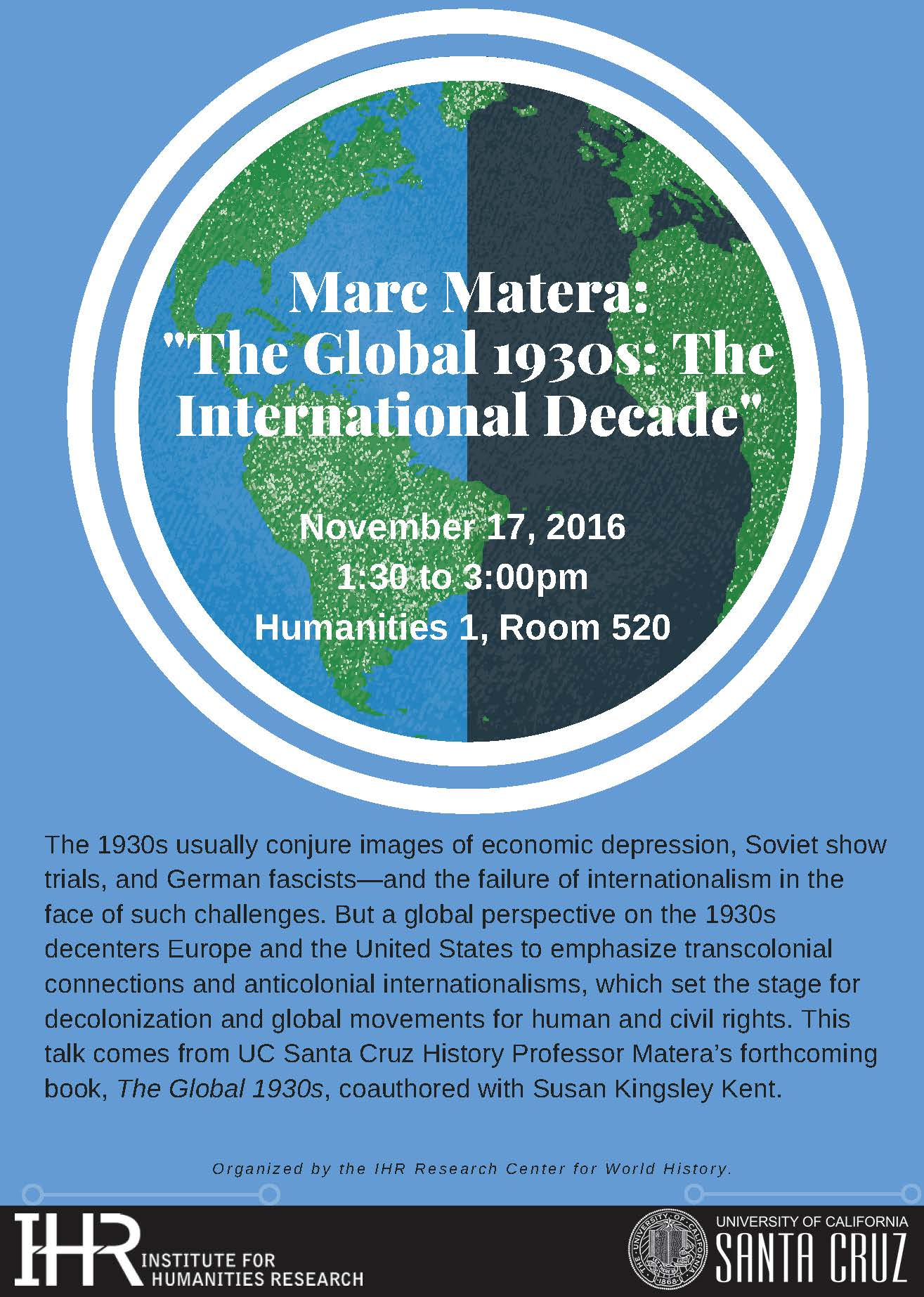 Marc Matera The Global 1930s event flyer