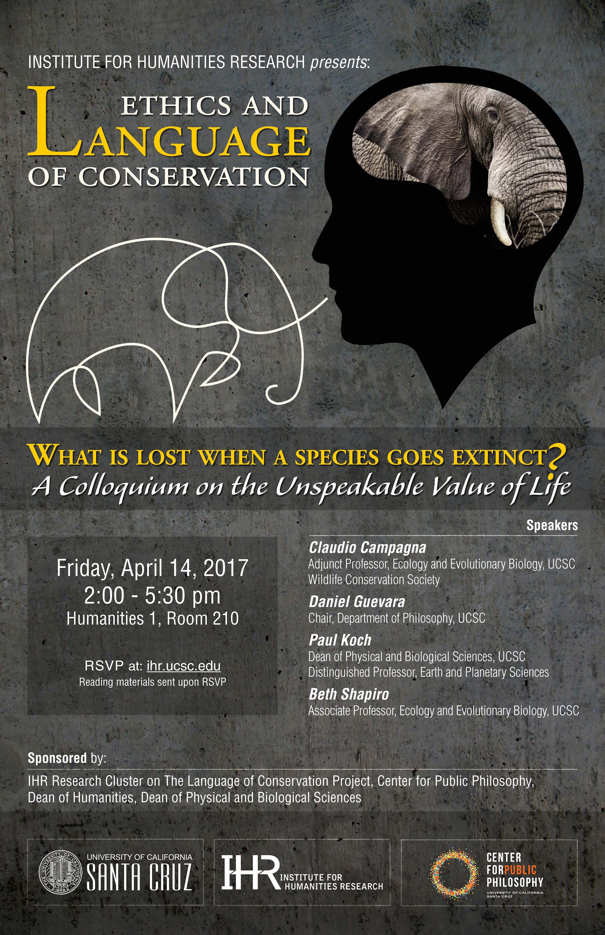Ethics and Language of Conservation Colloquium poster 4.14.17