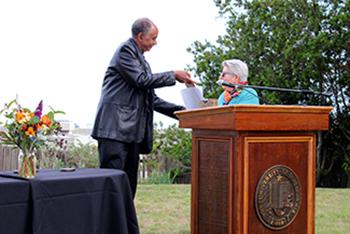 Dean Tyler Stovall and Professor Bettina Aptheker