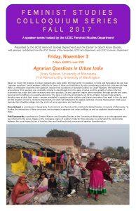 Flyer for Feminist Studies event