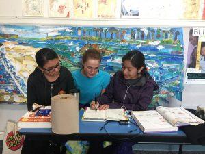 photo of students working at Senderos